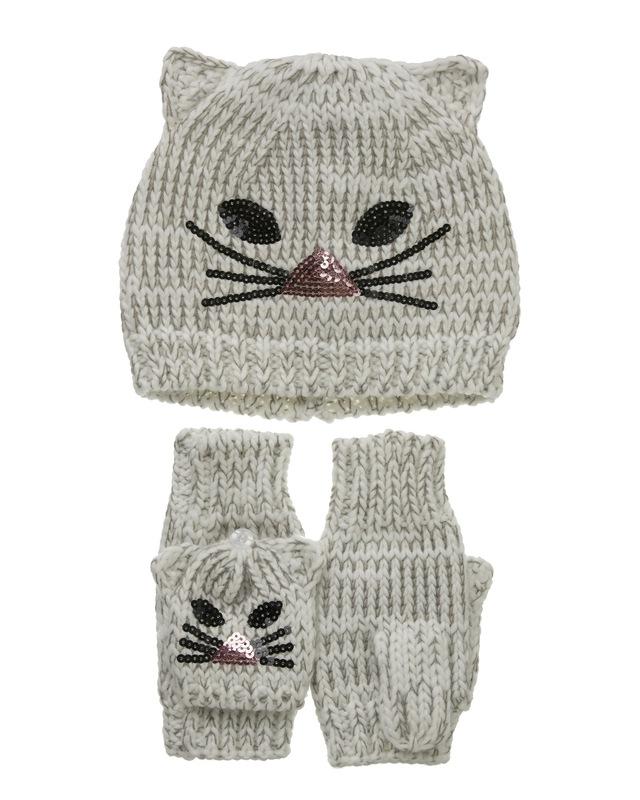 Set de guantes y gorro gatito por 4€