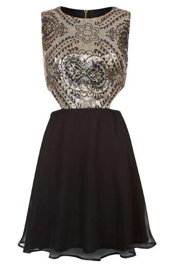 Brillante-vestido-de-mujer-en-negro-y-dorado
