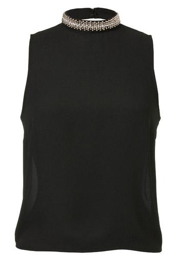 Sin-mangas-blusa-negra-cuello-metalico