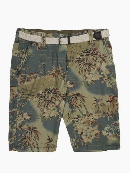 shorts estampado floral verde con cinturon 15 euros