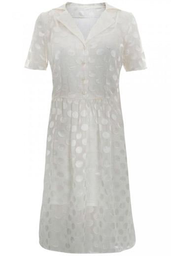 Vestido brillante blanco de mujer