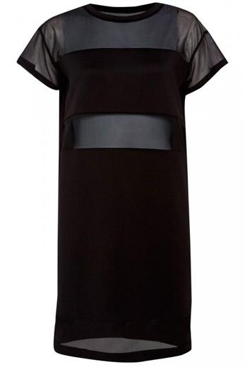 Vestido con transparencias en negro