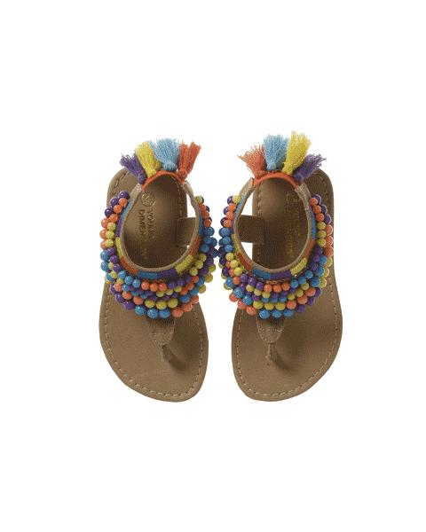 Sandalias con bolitas o cuetas de de colores y de dedo a la venta en tiendas Primark España.  8euros