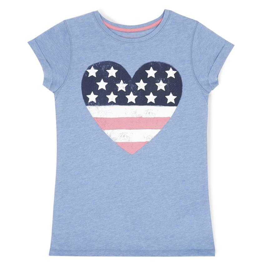 Camiseta corazón con estrellas y barras de niña