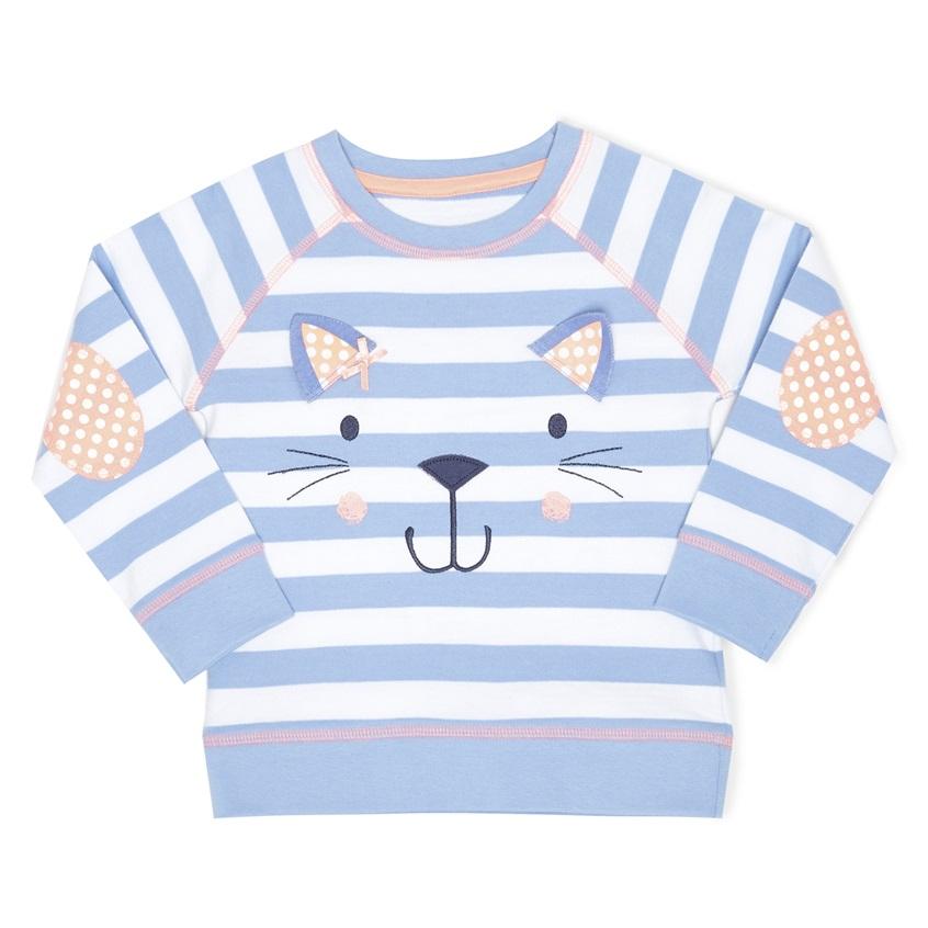 Camiseta de manga larga con cara de gato de niña