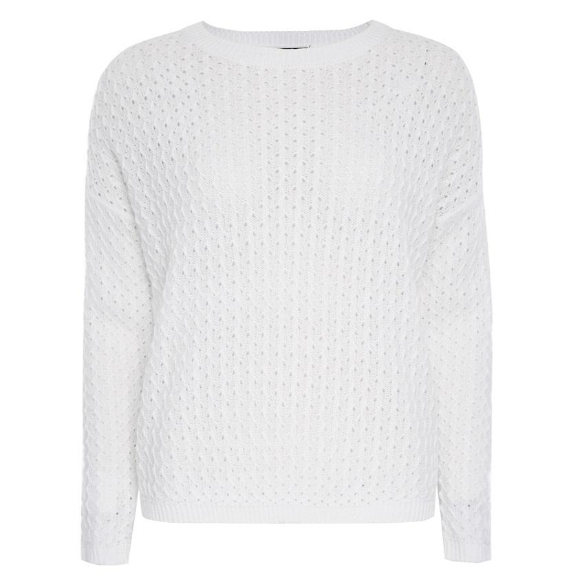 Jersey blanco de punto zig zag