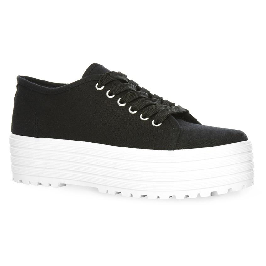 Zapatillas de tela negras con plataforma plana
