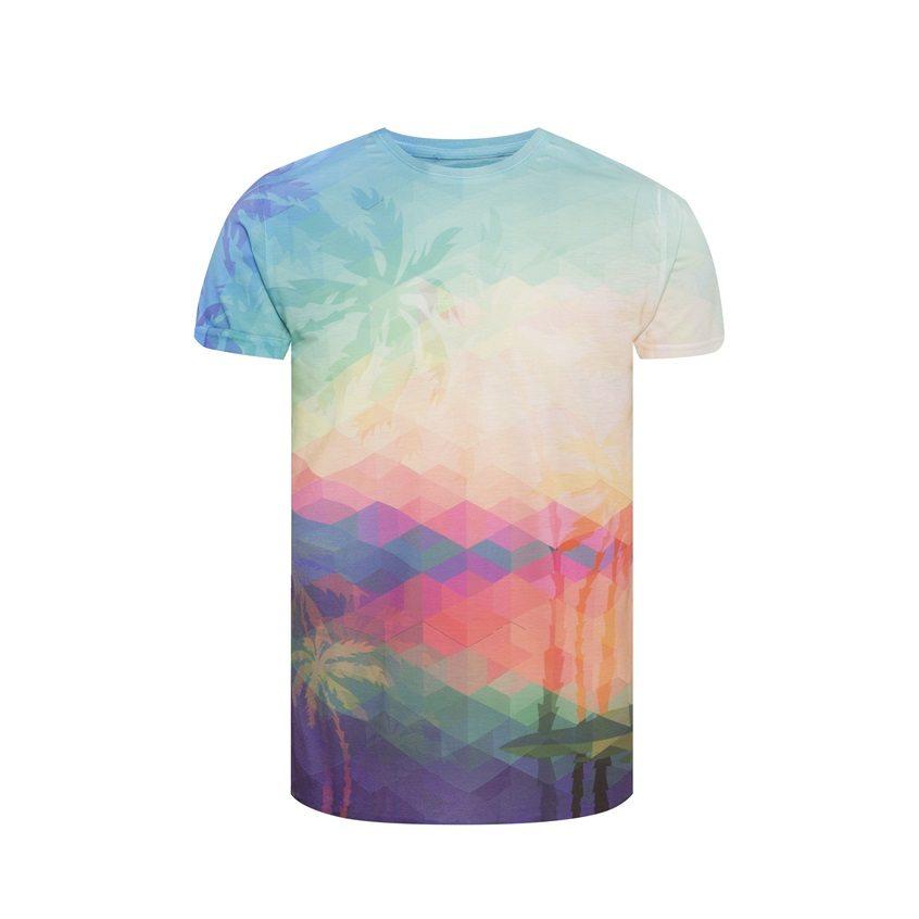 Camiseta con estampado digital de palmeras