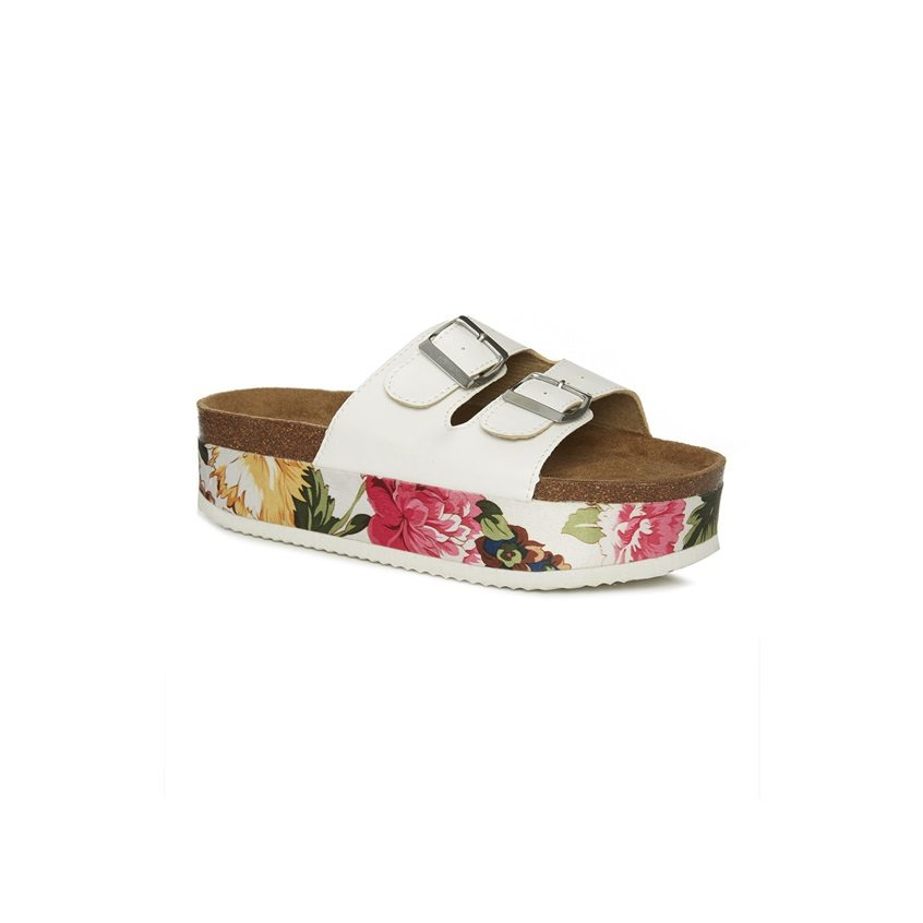 Sandalias blancas de plataforma plana con flores