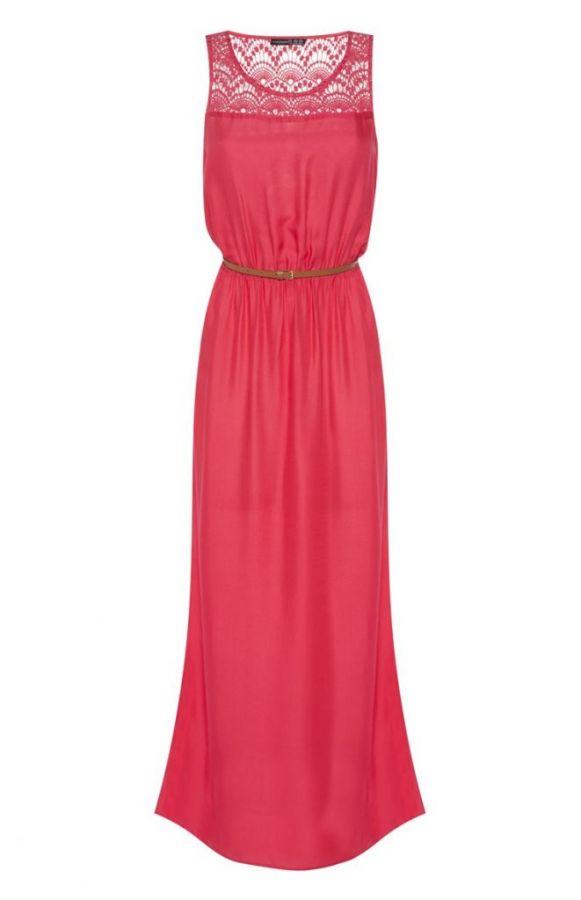 Vestido largo rosa cereza con puntilla y cinturón