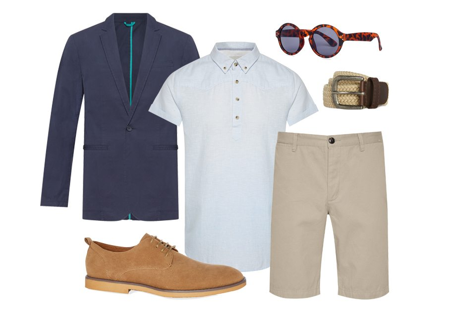 Chaqueta 25 €, camisa de manga corta 10 €, pantalones cortos 8 €, zapatos 16 €, gafas de sol 2 €, cinturón 5 €