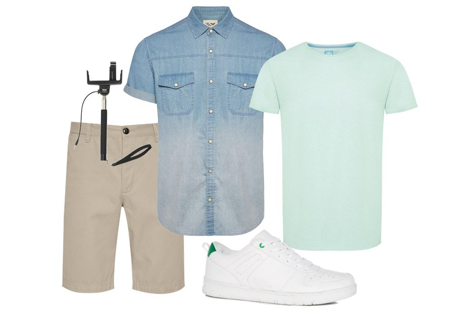 Camiseta hawaiana 10 €, chaqueta 25 €, pantalones cortos 8 €, zapatos 16 €