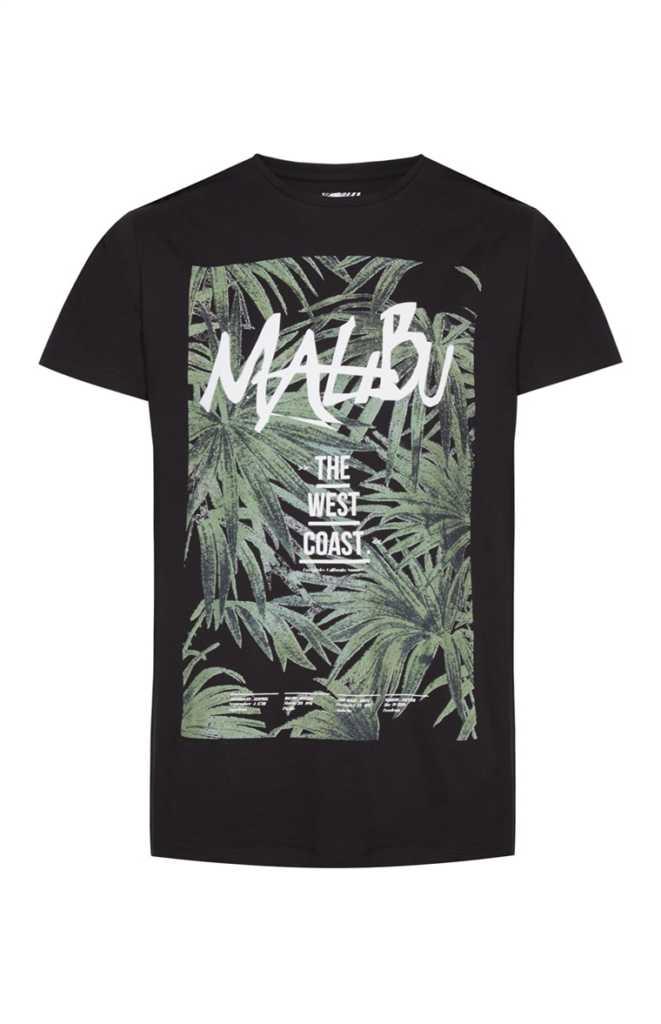 Camiseta negra estampada Malibu 5€