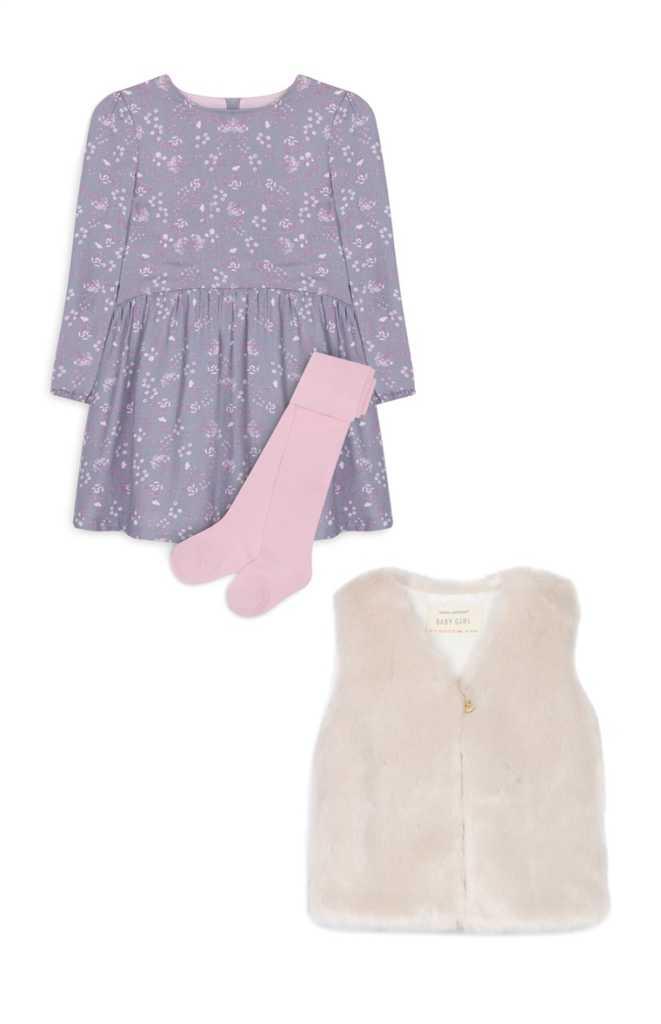 Chaleco, medias y vestido de bebé 18,00€
