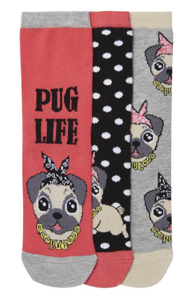 Pack de calcetines «Pug Life» 2,50€