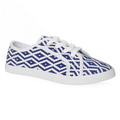 zapatillas azules estampado azteca