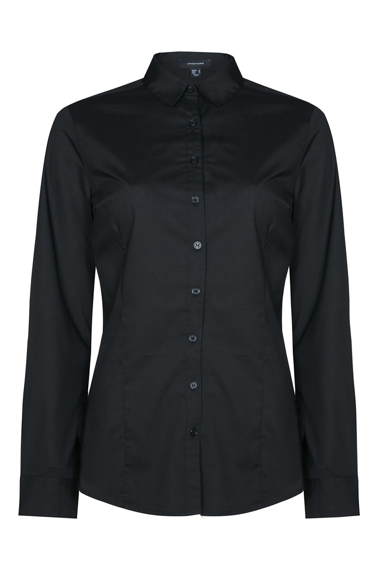 bf35b4c73 Camisa lisa ajustada negra 5€