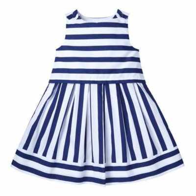 Vestido de popelina a rayas azul marino 10,00€