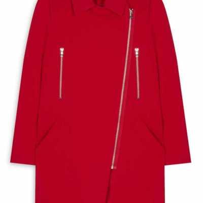 Abrigo motero entallado rojo