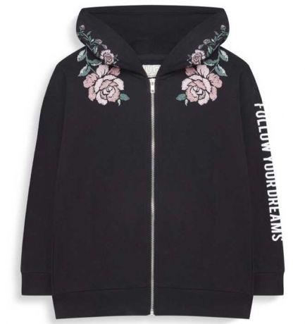 Sudadera negra con flores con capucha