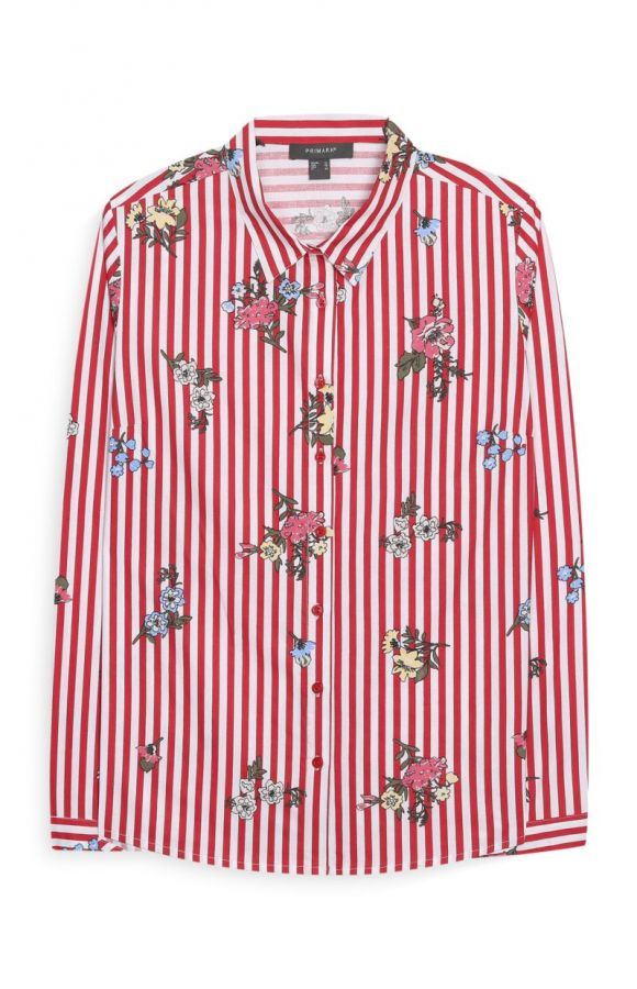 Camisa a rayas con estampado de flores 11€